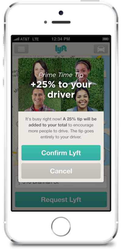 Lyft surge pricing interface