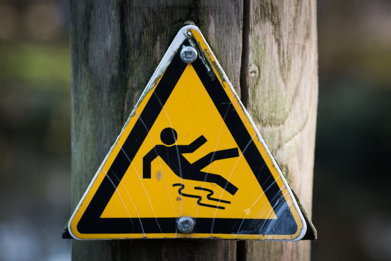 Slippery warning sign