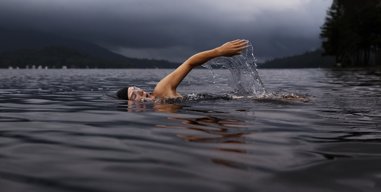 swimmer in a lake
