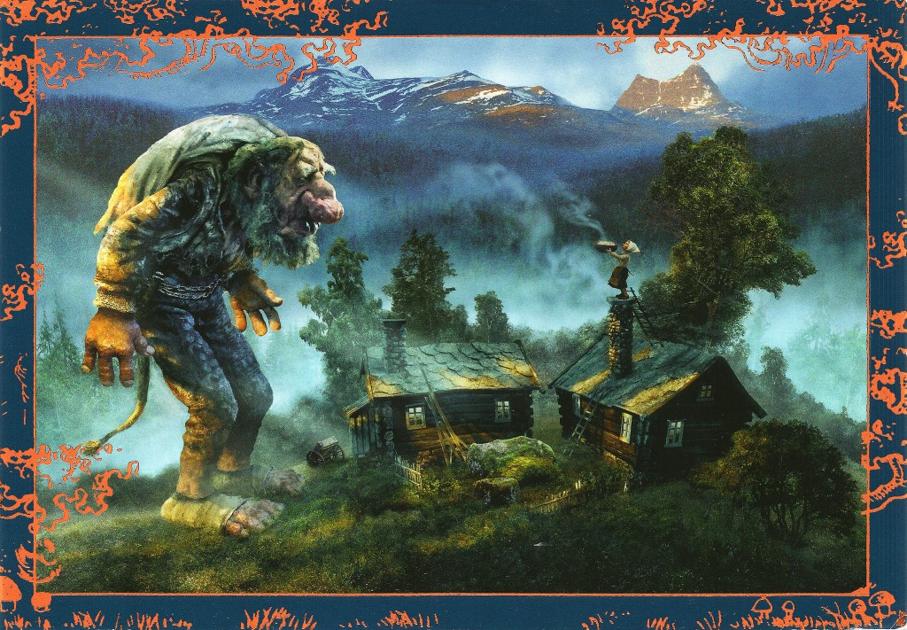 Large troll standing over a house